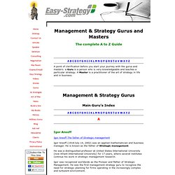 Management & Strategy Gurus and Masters - the Complete A to Z Guide