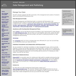 Manage Your Data: Data Management: Subject Guides