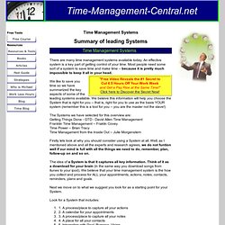 Time management systems - how to choose from the leading systems.
