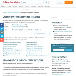 Classroom Management Strategies - TeacherVision