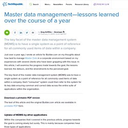 Master data management—lessons learned over the course of a year