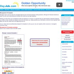 Management CV template, managers jobs, director, project management, CV example