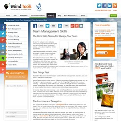 Team Management Skills - Team Management Training from MindTools.com