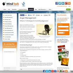 Anger Management - Stress Management Training From MindTools