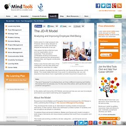 The Job Demands-Resources (JD-R) Model - Team Management Training From MindTools