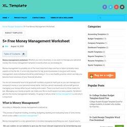 5+ Free Money Management Worksheet - XL Template