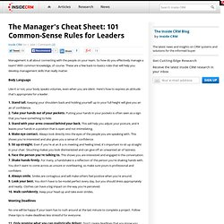 101 Common-Sense Rules for Leaders