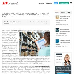 To Do List Manager App for Inventory Management