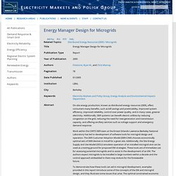 Energy Manager Design for Microgrids