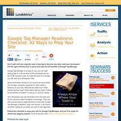 Google Tag Manager Readiness Checklist: 42 Ways to Prepare