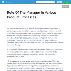 Role Of The Manager In Various Product Processes