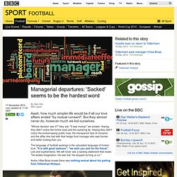 BBC Sport - Managerial departures: 'Sacked' seems to be the hardest word