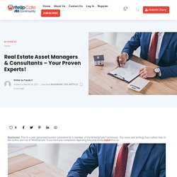 Real Estate Asset Managers & Consultants - Your Proven Experts!