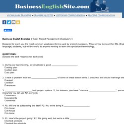 English for project managers - Business English - Project management vocabulary 1