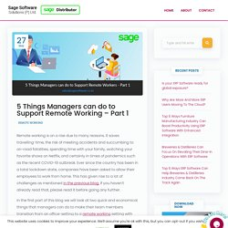 5 Things Managers can do to Support Remote Working - Part 1