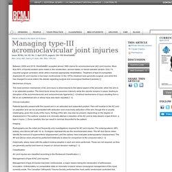 Managing type-III acromioclavicular joint injuries