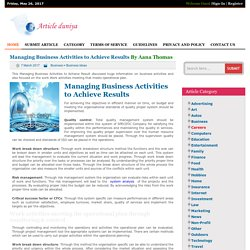 Managing Business Activities to Achieve Results