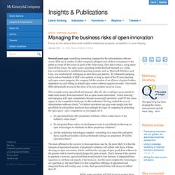 Managing the business risks of open innovation - McKinsey Quarterly - Strategy - Innovation