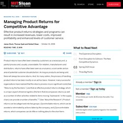 Managing Product Returns for Competitive Advantage