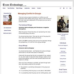 Managing Conflict in Groups