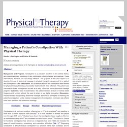 Managing a Patient's Constipation With Physical Therapy