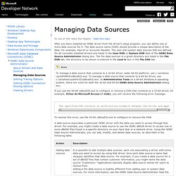 Managing Data Sources