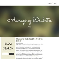 Managing Diabetes Effectively in Elderly