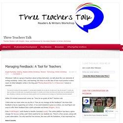 Managing Feedback: A Tool for Teachers