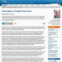 Managing a fragile Eurozone