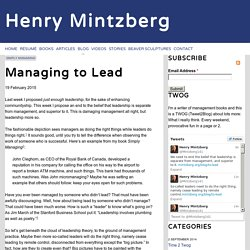 Managing to Lead