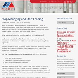 Stop Managing and Start Leading