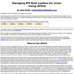 Managing EFI Boot Loaders for Linux: Using rEFInd