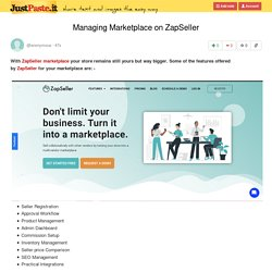 Managing Marketplace on ZapSeller