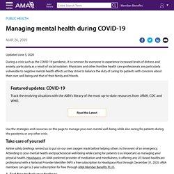 Managing mental health during COVID-19