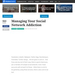 Managing Your Social Network Addiction