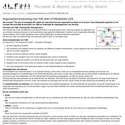 Organisatieontwikkeling met THE WAY of MANAGING LIFE — Personal Mental Management coach Willy Smets