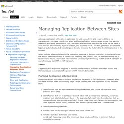 Managing Replication Between Sites