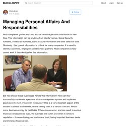 Managing Personal Affairs And Responsibilities