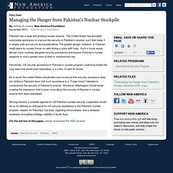 Managing the Danger from Pakistan's Nuclear Stockpile