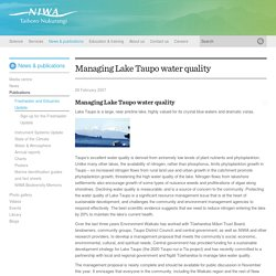 Managing Lake Taupo water quality