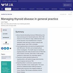Managing thyroid disease in general practice