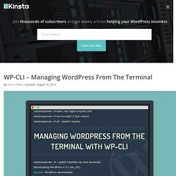 WP-CLI - Managing WordPress From The Terminal