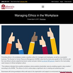 Managing Ethics in the Workplace