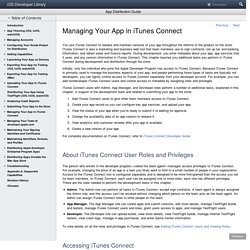 Managing Your App in iTunes Connect