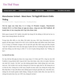 Manchester United – West Ham: Tái Ngộ Để Giành Chiến Thắng – Tin Thể Thao