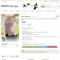 """Cable Embrace - Manchettes DROPS tricotées dans le sens de la longueur, au point mousse avec bordure torsadée, en """"Andes"""". - Free pattern by DROPS Design"""