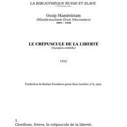 Mandelstam - Le Crépuscule de la liberté