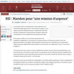 RSI : Mandon pour 'une mission d'urgence'