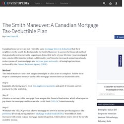 The Smith Maneuver: A Canadian Mortgage Tax-Deductible Plan
