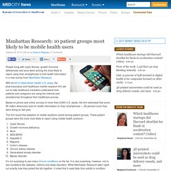 Manhattan Research: 10 patient groups most likely to be mobile health users